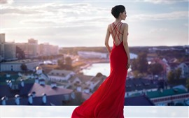 Preview wallpaper Red skirt girl, fashion, roof, back view