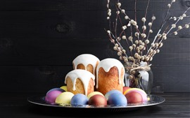 Preview wallpaper Some cakes and colorful eggs, Happy Easter