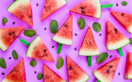 Preview wallpaper Some slices of watermelon, summer fruit, pink background