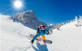 Preview wallpaper Sport, snowboard, snow, sun rays, mountains