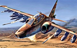 Preview wallpaper Su-25 military aircraft, art painting