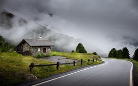 Preview wallpaper Switzerland, road, house, mountains, trees, clouds, morning