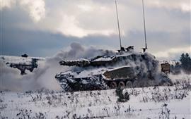 Tank, armée, neige, fumée