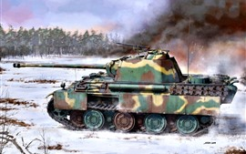 Tank, snow, trees, weapon, art picture