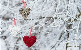 Preview wallpaper Three love hearts, decoration, twigs, snow, winter