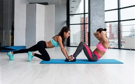 Two girls, fitness, yoga