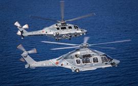 2機のヘリコプター、海