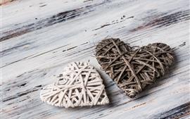 Dois corações de amor, madeira, tece
