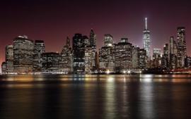 Eua, nova iorque, mar, arranha-céus, luzes, noturna, cidade
