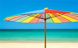 Vorschau des Hintergrundbilder Regenschirm, Regenbogenfarben, Strand, Meer