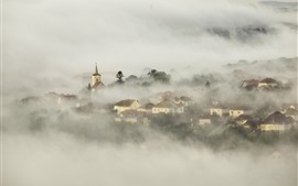 Village, houses, fog, dawn