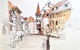 Preview wallpaper Watercolor painting, France, houses, city