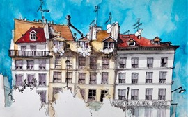 Preview wallpaper Watercolor painting, Paris, houses