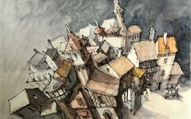 Preview wallpaper Watercolors, city, houses, top view