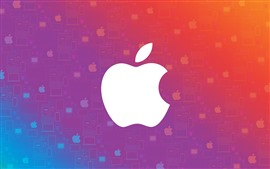 White apple logo, colorful background