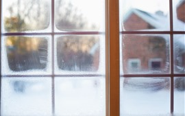 Fenêtre, neige, hiver, brumeux