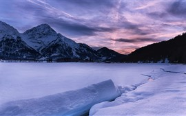 Winter, snow, lake, mountains, dusk, clouds