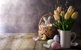Preview wallpaper Yellow tulips, eggs, decoration, Easter