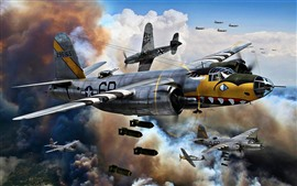 Preview wallpaper Air Force, bomber, war, art picture
