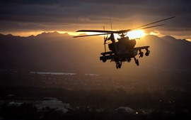 Preview wallpaper Apache AH-64 helicopter, flight, sunset