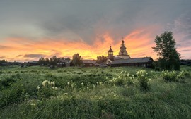 Oblast de Arkhangelsk, aldeia, igreja, árvores, grama, manhã