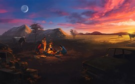 Atom RPG, imagen artística, montañas, vaca, puesta de sol, fuego