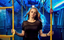 Preview wallpaper Blonde girl, bus
