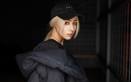 Preview wallpaper Blonde girl, cap, coat