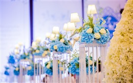 Preview wallpaper Blue flowers, lamp, decoration