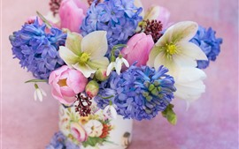 Preview wallpaper Bouquet, hellebore, snowdrops, tulips, hyacinths