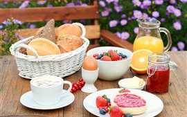 Preview wallpaper Breakfast, bread, milk, strawberry, jam