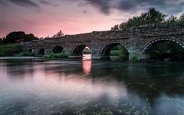 Preview wallpaper Bridge, bricks, river, dusk