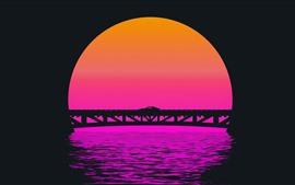 Preview wallpaper Bridge, car, sunset, art picture