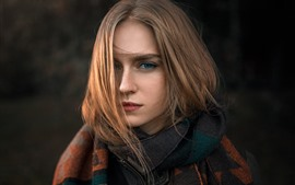 Preview wallpaper Brown hair girl, hairstyle, blue eyes, face