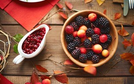 Preview wallpaper Cherry and blackberry, jam, food, leaves