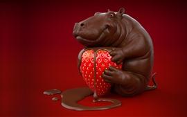 Chocolate hippo, strawberry