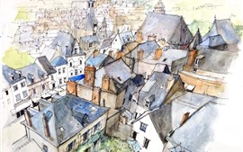 Preview wallpaper City, top view, houses, watercolors