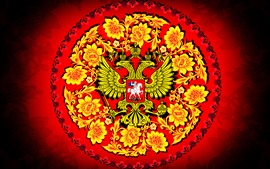 Preview wallpaper Coat of arms, flowers, eagle