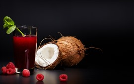 Preview wallpaper Coconut, raspberry, juice