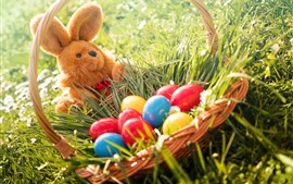 Preview wallpaper Colorful eggs, rabbit toy, grass, basket, Easter