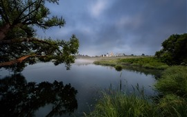 Preview wallpaper Countryside, lake, reeds, trees, houses, fog, morning