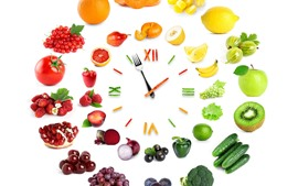 Preview wallpaper Creative clock, vegetables and fruit, white background