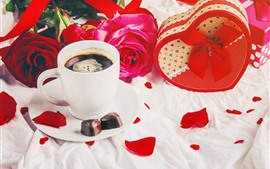 Preview wallpaper Cup, coffee, red roses, chocolate candy, gift, romantic