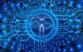 Cyborg, biotecnología, estilo azul, imagen creativa