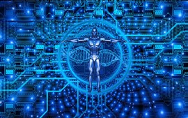 Киборг, биотехнология, синий стиль, креативная картинка