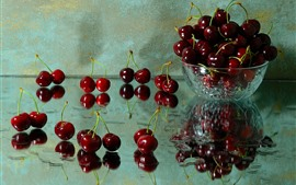 Preview wallpaper Delicious cherries, fruit, bowl, glass