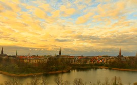 Preview wallpaper Denmark, city, river, dusk, clouds