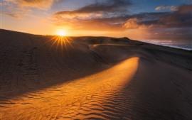 壁紙のプレビュー 砂漠、砂丘、雲、日没、熱