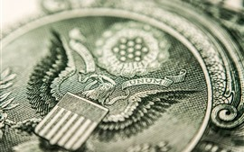 Preview wallpaper Dollar, currency macro photography, eagle pattern