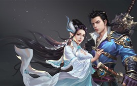 Preview wallpaper Fantasy Chinese girl and boy, art picture